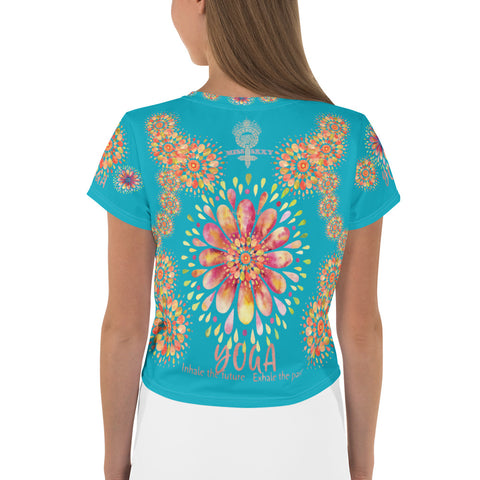 """YOGA"" by Miss.Sexy - Exclusive Yoga Crop Top for the YOGA Spirit in You - (Shade of Ocean Blue Crop Tee)"