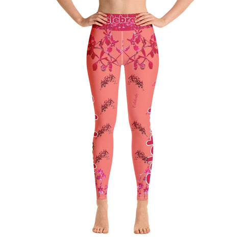 Exclusive Holiday Yoga Leggings in Lovely Coral by Miss.Sexy
