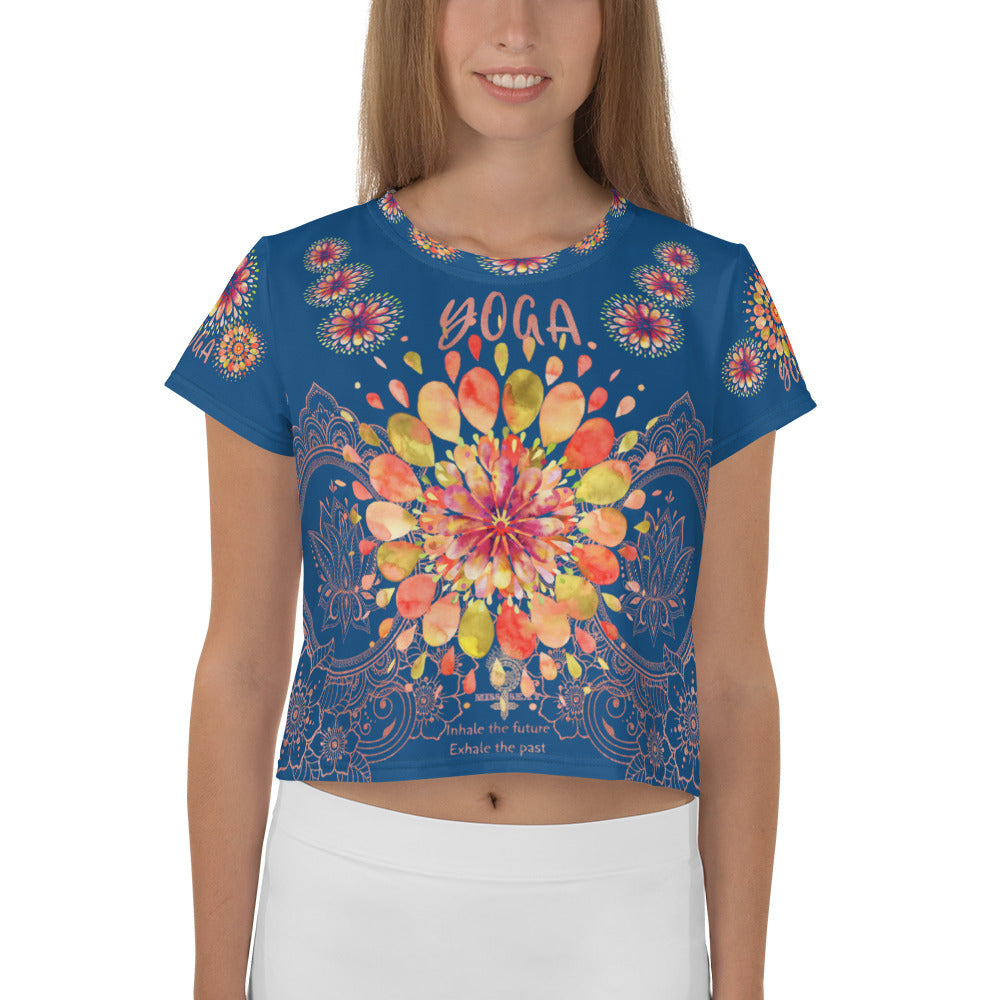 """YOGA"" by Miss.Sexy - Exclusive Yoga Crop Top for the YOGA Spirit in You - Blue Crop Tee"