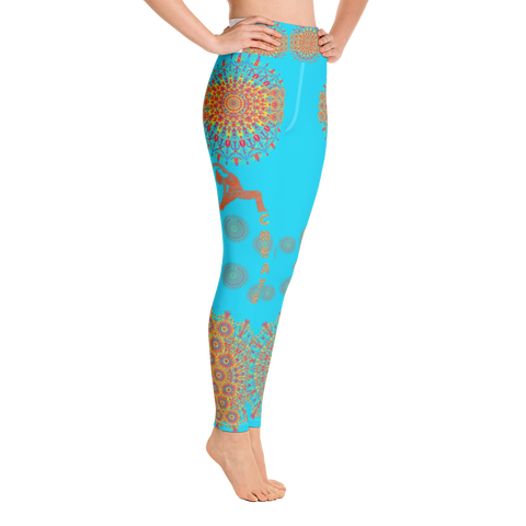 Mandala Art Yoga Leggings - Turquoise