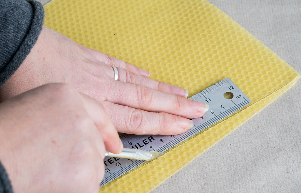 Measure and cut beeswax sheet