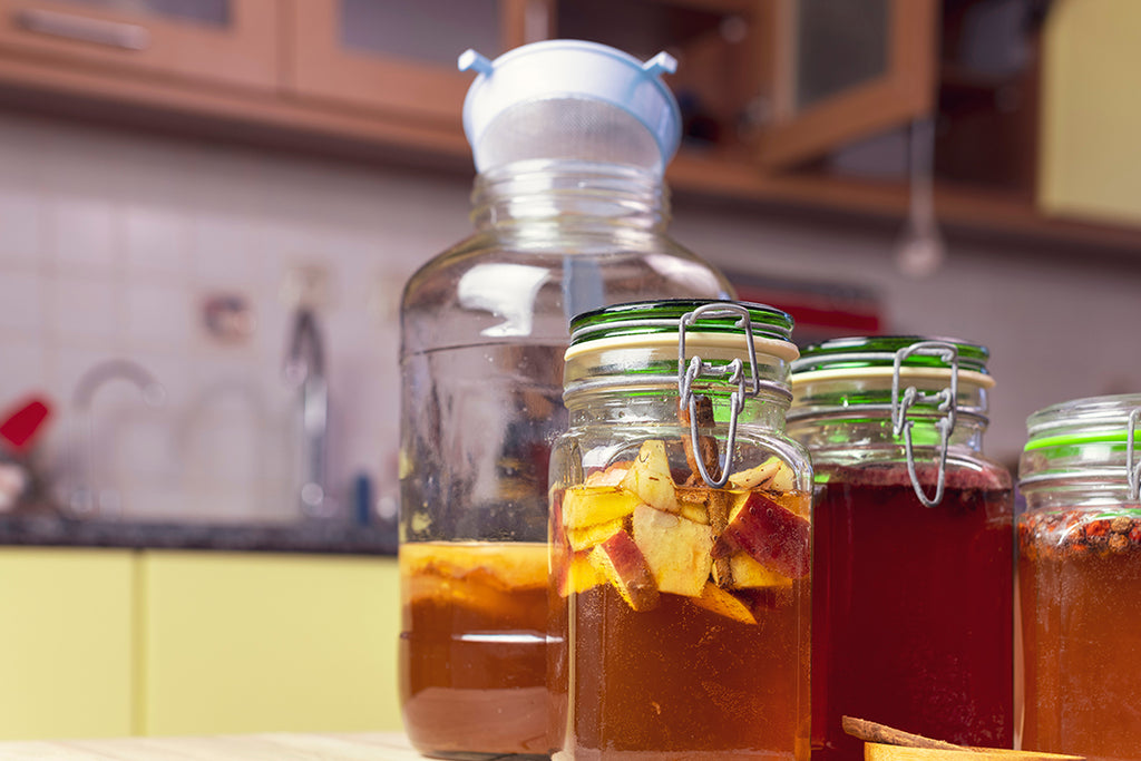 Kombucha in jars on a kitchen counter