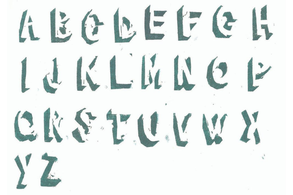 The alphabet, stylised and stamped