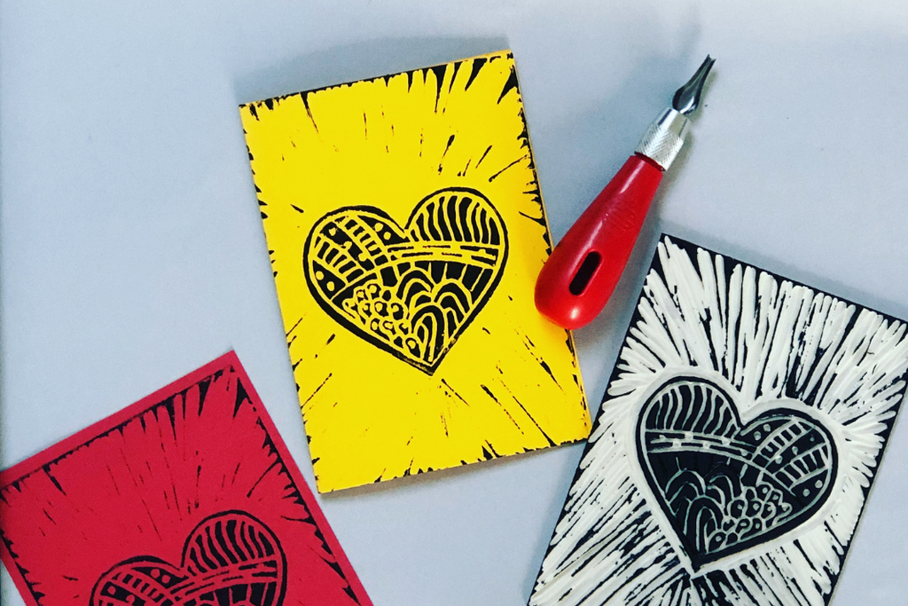 linocut cards and a linocut tool