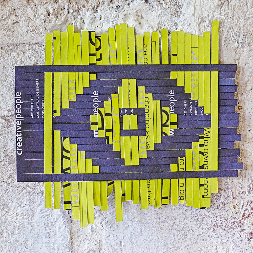 Completed paper weaving using yellow and grey paper