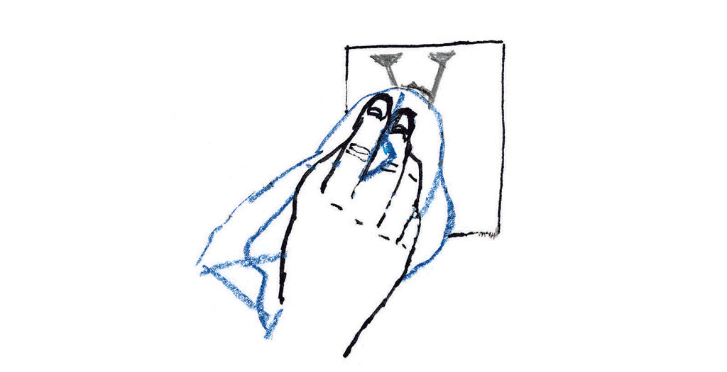 Illustration of hand wiping the paper with a napkin