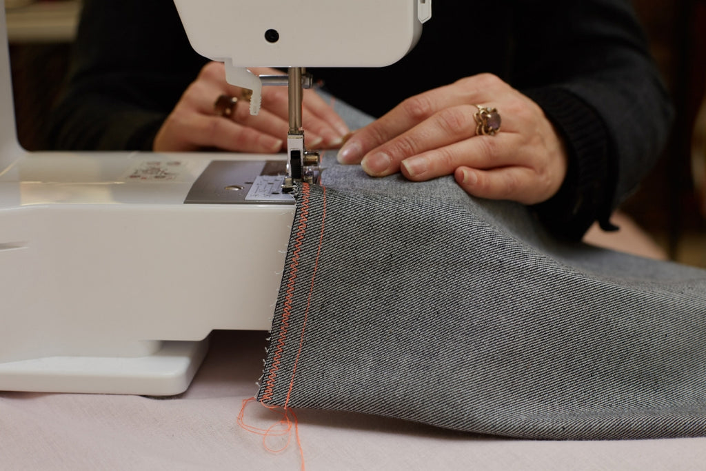 Sewing denim with a sewing machine