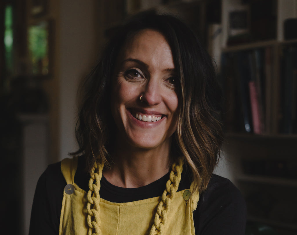 Sian McLachlan wearing her yellow rope knot necklace