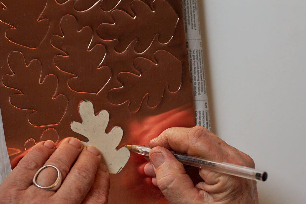 Drawing leaves onto copper sheet