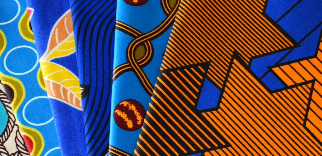 Close up of blue African wax print textiles