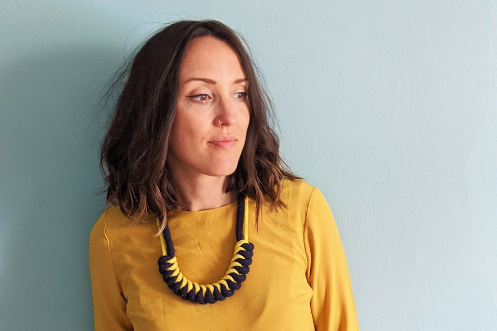 Sian McLachlan wearing her rope knot necklace