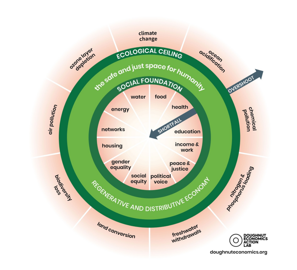 Wheel chart on ecological ceiling and social foundation