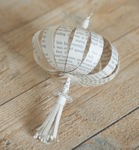 Hanging tassel decor made using old book pages