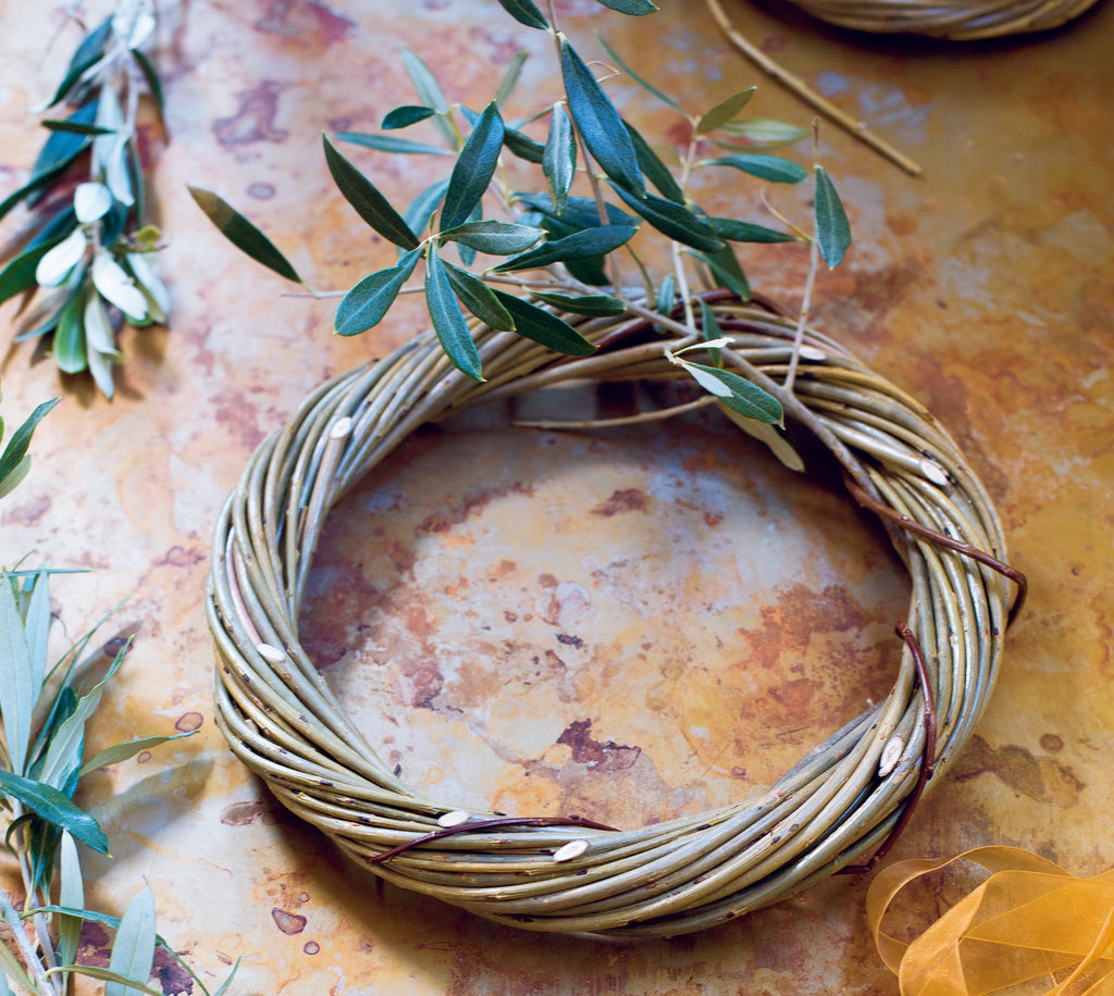 Willow wreath, completed and garnished with holly