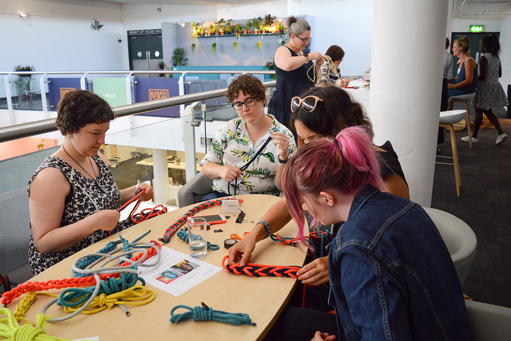 Sian McLachlan demonstrating techniques for making a rope necklace.