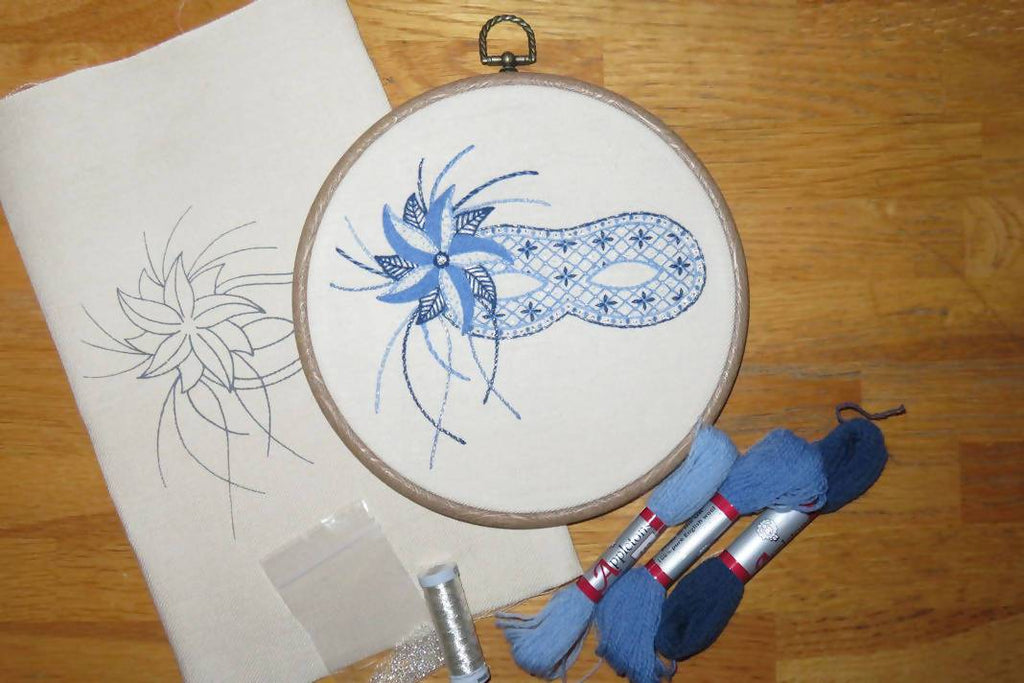 Embroidery of mask in embroidery hoop with thread and pattern