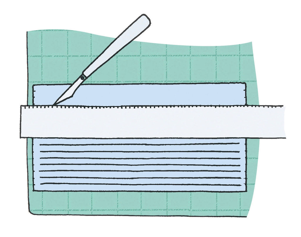 Illustration showing craft knife cutting slits into paper