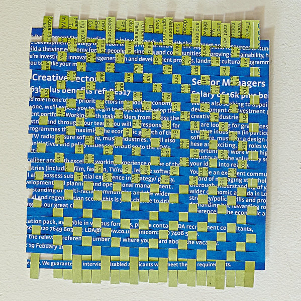 Blue and yellow paper weaving