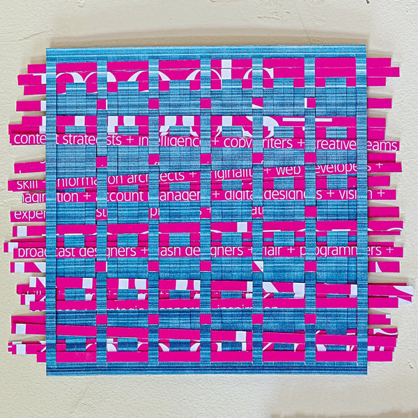 Pink and blue paper weaving