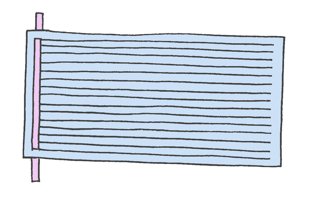 Illustration of a single strip of pink paper into sliced blue paper