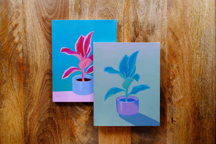 Learn to paint with acrylics: houseplant still life