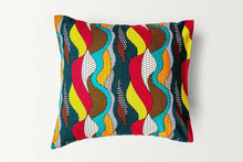 Load image into Gallery viewer, Cotton Waxprint Cushion Cover by OJA London: Lowkey Ripple