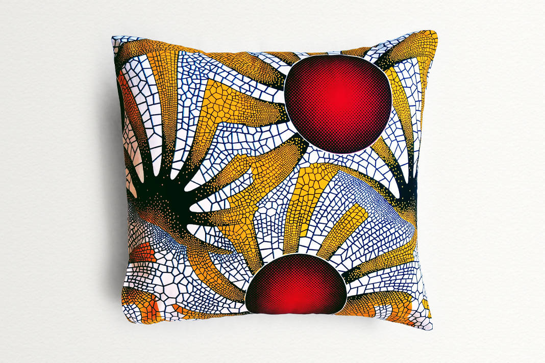 Cotton Waxprint Cushion Cover by OJA London: Red Sun