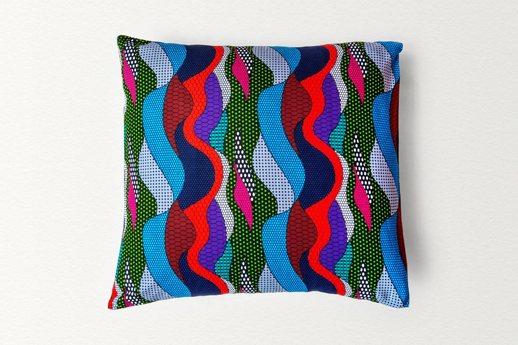Cotton Waxprint Cushion Cover by OJA London: Ripple