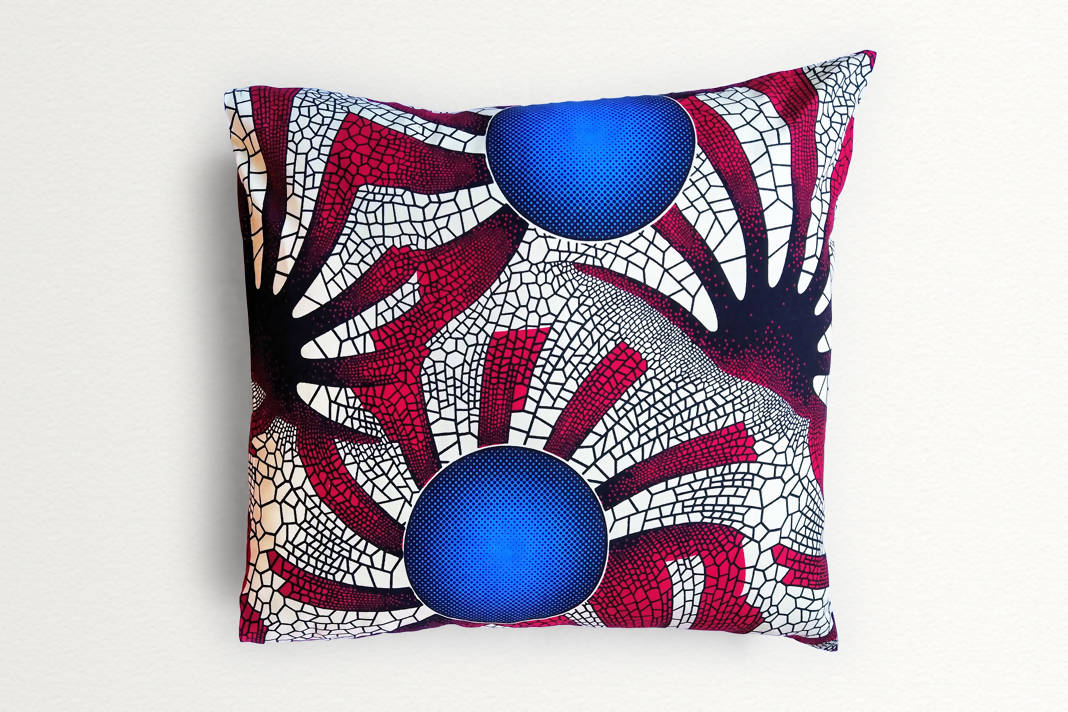 Cotton Waxprint Cushion Cover by OJA London: Blue Sun