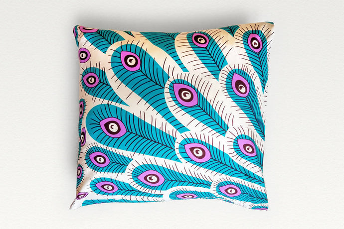 Cotton Waxprint Cushion Cover by OJA London: Peacock