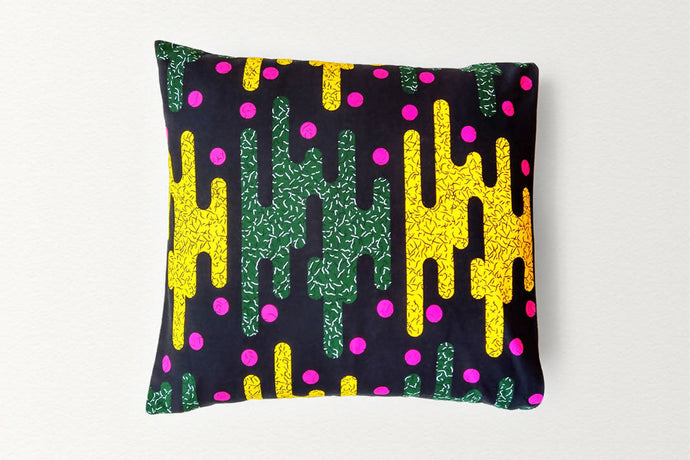 Cotton Waxprint Cushion Cover by OJA London: Goldfinger