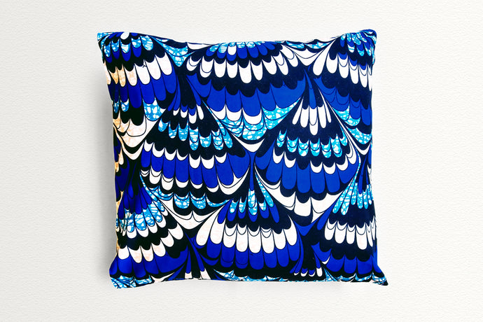 Cotton Waxprint Cushion Cover by OJA London: Blue Wave