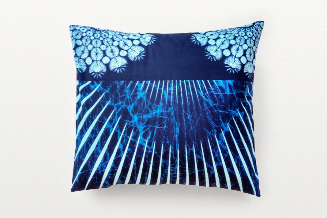 Cotton Waxprint Cushion Cover by OJA London: Blue Ray