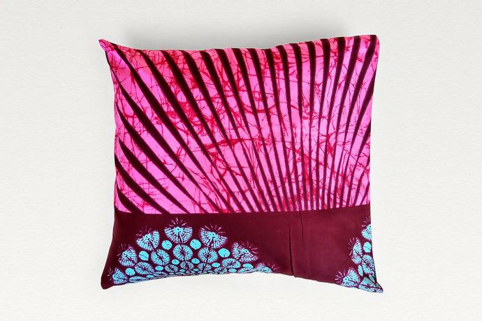 Cotton Waxprint Cushion Cover by OJA London: Pink Ray