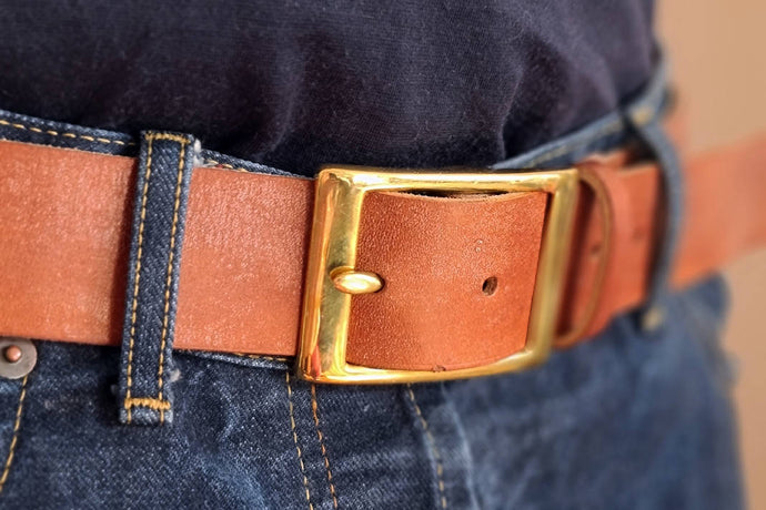 Bridle leather belt kit with Abbey England brass buckle from Carreducker