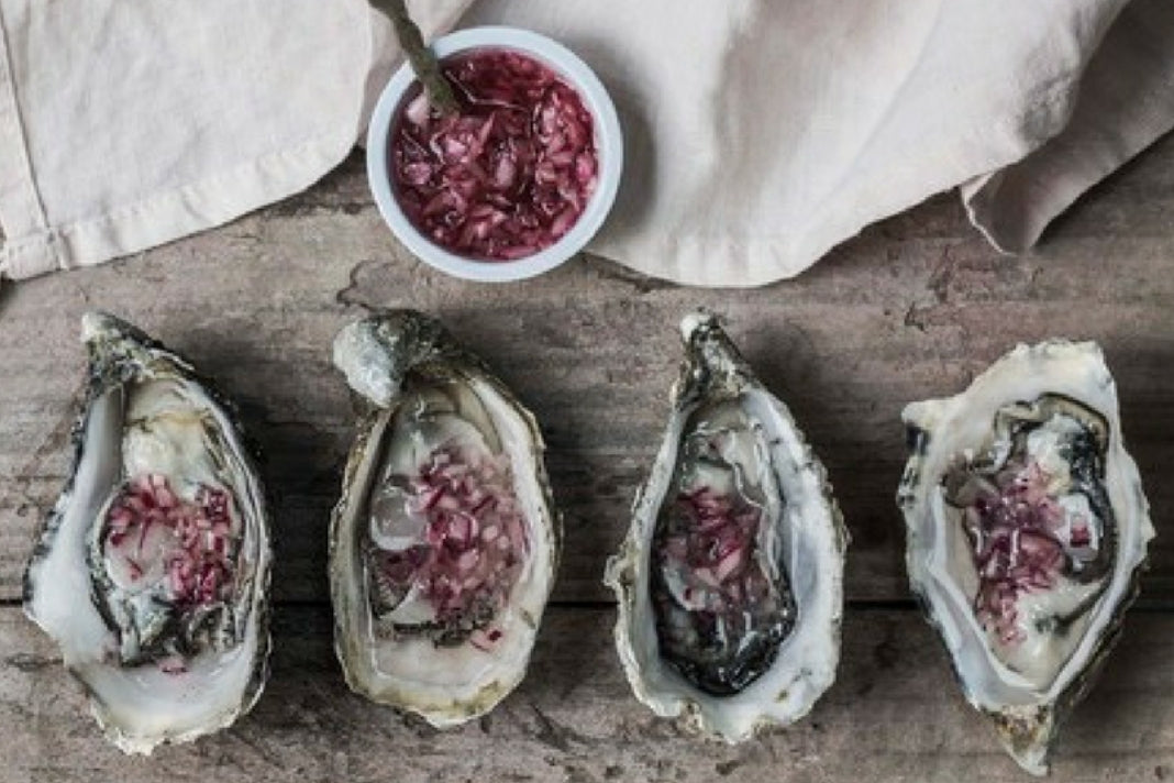 Beautifully photographed assemblage of four oysters in a row, each with a sprinkling of red sauce, with a small bowl of the sauce placed above them.
