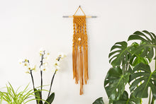 "Load image into Gallery viewer, An ""eye-spy"" macrame wall hanging next to an orchid and a fern."