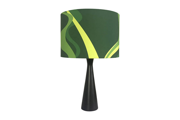 Drum Lampshade with Emerald Silhouette Fabric