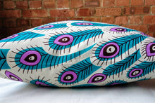 Load image into Gallery viewer, Cotton Waxprint Cushion Cover by OJA London: Peacock