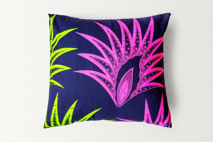 Cotton Waxprint Cushion Cover by OJA London: Neon Spike