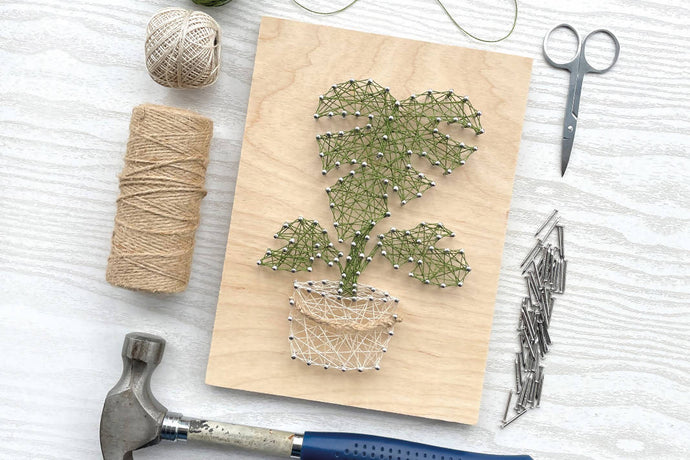 Monstera House Plant String Art: Kit + Guide