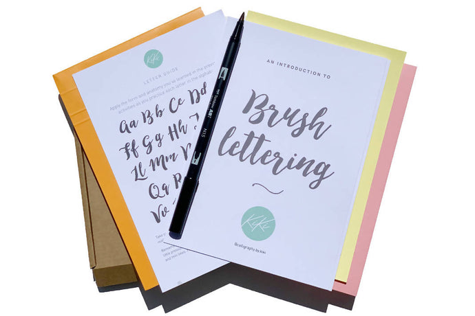Brush lettering calligraphy: Kit + Guide