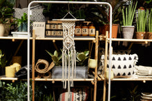 "Load image into Gallery viewer, An ""eye-spy"" macrame wall hanging in front of a shelf full of plants and objects."