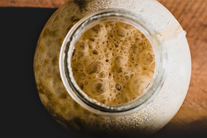 Close-up of a bubbling sourdough starter in a glass jar.