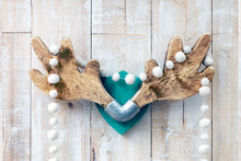 Load image into Gallery viewer, Upcycled antler-shaped coat rack mounted on a wooden wall, with a garland of festive white puffs hanging from it.