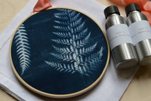 Load image into Gallery viewer, Learn how to make a cyanotype embroidery hoop: Kit + Guide