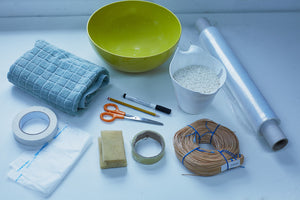 Everything you need in order to make a decorative woven basket.