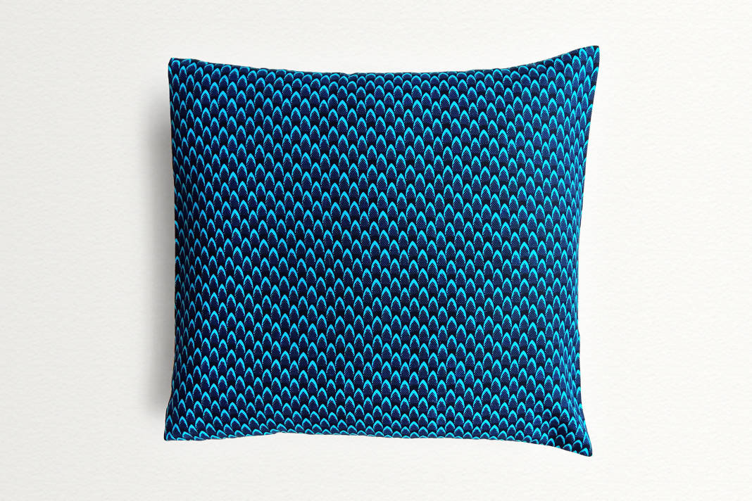 Cotton Waxprint Cushion Cover by OJA London: Fishscale Blue