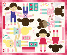 Load image into Gallery viewer, Best Friends Forever Doll Panel by Stacy Iest Hsu for Moda Fabrics