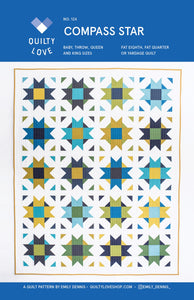 Compass Star Quilt Pattern by Emily Dennis of Quilty Love